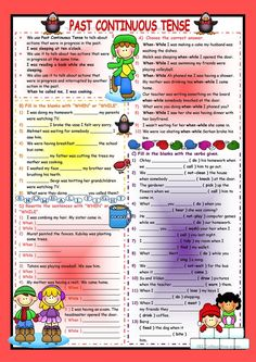 Past Continuous Tense worksheet - Free ESL printable worksheets made by teachers Tenses English, English Test, English Class, English Words, English Lessons, English Grammar, Teaching English, Learn English, English Worksheets For Kids