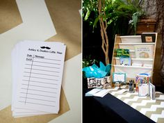 """""""Build Baby's Library"""" activity for baby shower. Really cute idea! Ask guests to bring a book instead of a card and then they write notes to the baby on library card printout things! They can buy books from thrift stores for cheaper than cards at the store and it'll be a much nicer keepsake for the baby :)"""
