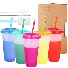 Color Changing Cups - 5 pack 24oz Reusable Tumbler with Lids and Straws BPA Free Magic Colored Tumbler with Straw Cleaner and Sponge Cleaning Brush ✅MAGIC COLOR CHANGING: When you add your favorite cold drink and ice, a magic will happen to the cup. Versatile enough for every day use. ✅5 FUN PASTEL COLORS: Set of 5 color changing cups,let you have 5 different good experiences. Enjoy quality cups at home cinema, Party, Picnics or family get together. ✅EASY TO CLEAN: We use high-quality materials, Cold Party Appetizers, Party Favors For Kids Birthday, Halloween Birthday, Party Cups, Party Party, Party Ideas, Cinema Party, Cupping At Home, Magic Bottles