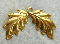 1 large raw brass stamping Art Nouveau by GloriousGlassBeads