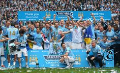 - The #ManchesterCity players celebrate with the #PremierLeague trophy at the end of the Barclays Premier League match between Manchester City and West Ham United at the #EtihadStadium on May 11, 2014 in Manchester, England.