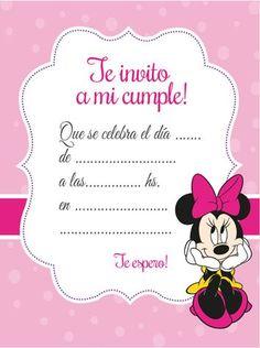 Tarjeta de invitación de Minnie Mouse - Celebrando Fiestas. Gratis! Free! Mickey E Minie, Fiesta Mickey Mouse, Minnie Mouse Pink, Mickey Birthday, Mickey Party, Girl Birthday, Happy Birthday, Minie Mouse Party, Party Invitations Kids