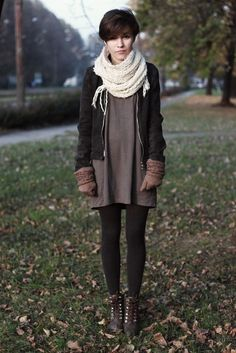 Taupe dress + black tights + cream scarf