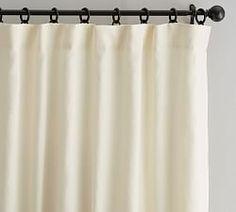Custom Classic Belgian Linen Curtain, Ivory, 60 x - Windows - Curtains - Pottery Barn