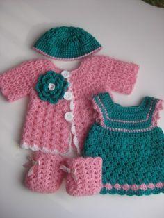 Waldorf Dolls Clothes set of 4  crochet turquoise Dress by tatocka, $52.00