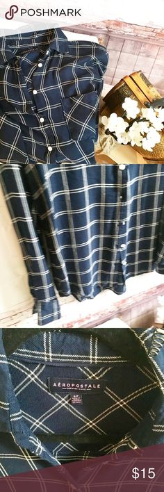 """AERO Navy and White Checkered L/S Top, Size Small, AERO Navy and White Checkered L/S Top, Size Small, but Generous amount of material makes this fit a medium as well.  NWOT.  100 % rayon. Chest is 19"""", Shoulders are 16"""", sleeves are 17.5"""" measured from underarm. Length is 25"""" in front and 27"""" in back. NWOT Aeropostale Tops Button Down Shirts"""