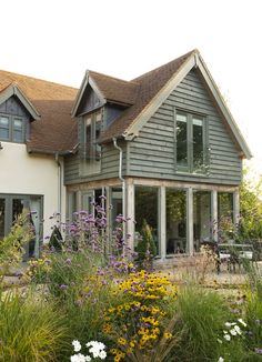 Border Oak - oak framing, glazing and painted weatherboard House Extension Plans, Cottage Extension, House Extension Design, House Design, Porch Extension, Extension Ideas, Border Oak, Oak Frame House, House Cladding