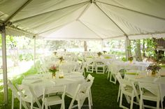 rehearsal dinner under a tent. casual.