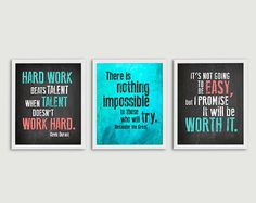 Inspirational Quote Classroom Decor - Teacher Gift - Set of 3 Prints - Elementary Middle High School Hard Work Posters on Etsy, $26.00