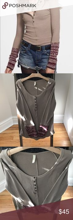 Free People almond alpine cuff In wonderful condition!! Size L Free People Tops Tees - Long Sleeve