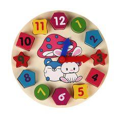 Holzblöcke 12 Anzahl Bunte Digitale Geometrie Clock Baby Bildungs Bricks Spielzeug Baby Kinder Kinder Spielzeug Geschenke FCI #