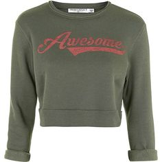 Awesome Cropped Sweatshirt by Project Social T ($46) ❤ liked on Polyvore featuring tops, hoodies, sweatshirts, khaki, patterned sweatshirts, henley tops, henley sweatshirt and sweat shirts