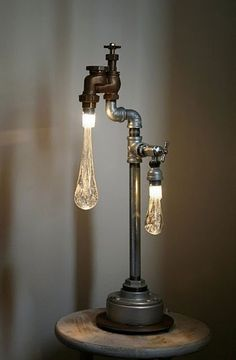 Love this lamp made from an old tap.