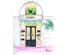 Fashion wall art Chanel inspred art print by RongrongIllustration