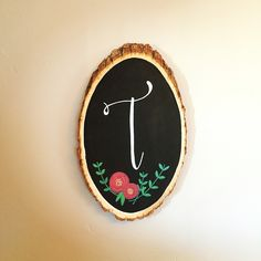 Monogrammed painted wood slice for the home. By @thecraftingcasa