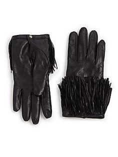 Diane von Furstenberg Fringed Leather Gloves