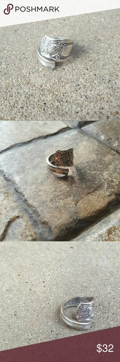 Sterling Silver Antique Spoon Ring Vintage Antique Sterling Silver Spoon Ring. Handmade! Custom Size. Beautiful design. Seriously gorgeous ornamentation. Disclaimer: These are ANTIQUE items. There could be dings from how old the items were before production! Handmade Jewelry Rings