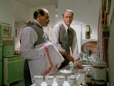 oldshrewsburyian: Poirot and Hastings doing the dishes, in The ABC Murders. Agatha Christie's Poirot, Hercule Poirot, Death In The Clouds, David Suchet, True Crime Books, Best Mysteries, Murder Mysteries, Miss Marple, I Movie