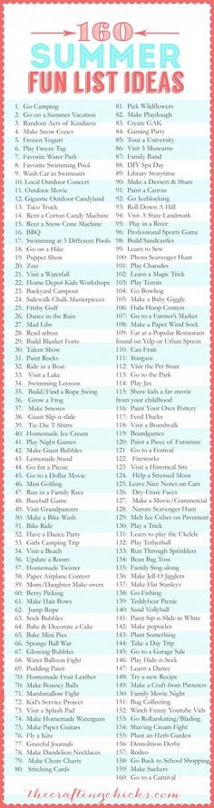 Super - 160 Sommer Ideen für Kinder *** 160-Summer Fun List Ideas - Summer Bucket List