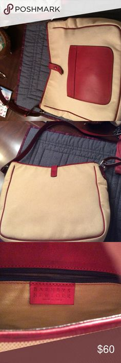 """Barneys New York, made in Italy, purse NWOT, beautiful canvas and burgundy leather shoulder strap purse. There are a few barely noticeable """"age spots"""" from lack of use. They can only be seen if you inspect it closely. It is very lovely. Barneys New York Bags Shoulder Bags"""