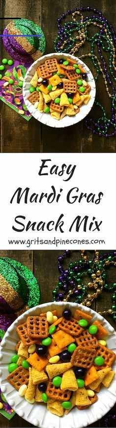 Mardi Gras Snack Mix is easy to make, full of sweet and savory treats and the festive colors of Mardi Gras which are purple, green and gold. This easy snack recipe is perfect for a crowd at a Mardi Gras party or a game day party for just a few. Quick And Easy Appetizers, Easy Snacks, Healthy Snacks, Easy Meals, Mardi Gras Food, Mardi Gras Party, Appetizer Recipes, Snack Recipes, Easy Recipes