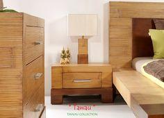 Bambusnachttisch Tawau mit einer Schublade aus Massivholz.