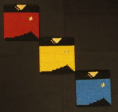 Star Trek The Next Generation Uniform Coasters Made From Plastic Canvas by Robert