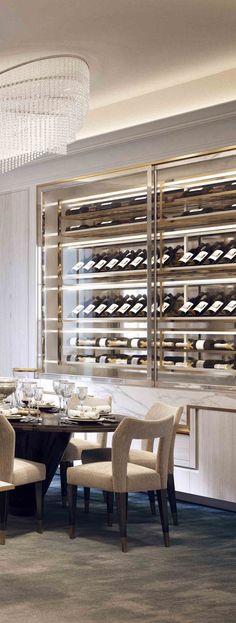Wine cellar, wine storage, wine display, wine cellar ideas, glass wine cellar doors, dining room wine cellar, dining room inspiration, dining room inspo