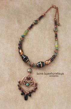 "Necklace ""Southern Nights"" Lampvork, jasper, garnet, Czech glass, furniture, copper"