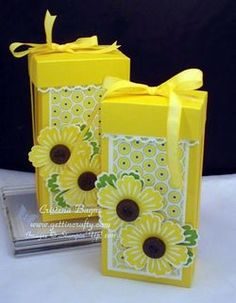 Summer Time Gift Box Video Tutorial by Cristena - Cards and Paper Crafts at Splitcoaststampers Crafty Projects, Diy Projects To Try, 3d Projects, Scrapbook Paper Crafts, Scrapbooking, Paper Crafting, Box Of Sunshine, Punch Art Cards, Boxes And Bows