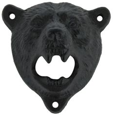 Cast Iron Wall Mount Grizzly Bear Teeth Bite Bottle Opener For your consideration is a wall mounted Black Grizzly beer, soda or pop BOTTLE CAP OPENER! This cast Bottle Cap Opener, Wall Mounted Bottle Opener, Home Design, Cast Iron, It Cast, Home Bar Furniture, Rustic Furniture, Bear Head, Farmhouse