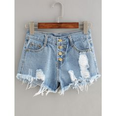 Button Fly Distressed Denim Shorts ($11) ❤ liked on Polyvore featuring shorts, blue, summer shorts, stretch shorts, short jean shorts, stretch jean shorts and ripped denim shorts