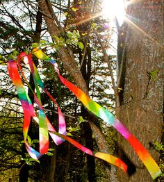 Twig and Toadstool: Rainbow Ribbon Wands---maybe do on a ring for the girls to play with.