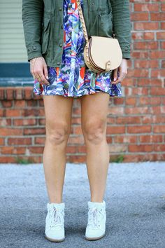 Casual Cool Style #fashion #blogger #wedgesneakers #dress