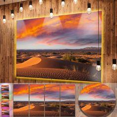 Designart 'Sahara Dunes under Colorful Sky' Landscape Metal Wall Art