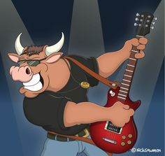 Cartoon Rocking Bull