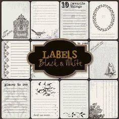 Friendly Scrap : Labels Black & White