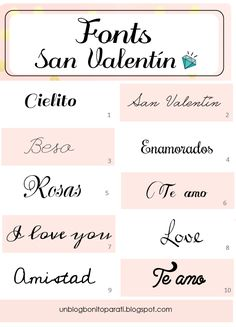 Diseño de blogs: Tipos de letras para San Valentín