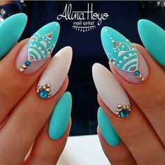 Gorgeous oval shaped nails with teal blue matte design, white lace, and blue and gold beads and stones. Beautiful nails done by @alinahoyonailartist *Dedicated to promoting quality and Inspirational Nails from International Nail Artists Tag us if your using our Products! Find us on Facebook- Ugly Duckling Nails #uglyducklingnails #chrystacle #nails #nail