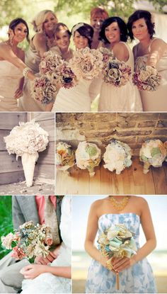 Rustic fabric and paper bouquets - i actually really love the idea of fake flowers.
