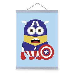 Freeshipping Despicable Minion Captain America Kawaii Funny Kids Bedroom Wall Art Decor Pop Cartoon Animie Movie Poster Gift Canvas Painting by QingArt (5.90 USD) http://ift.tt/1NC5Imf