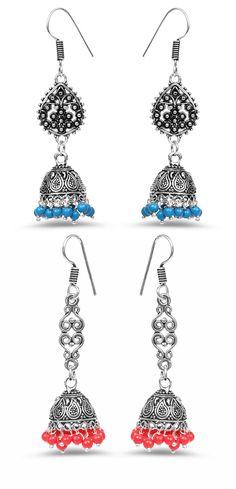 Blue Stone Oxidised Jhumki Earrings Johareez.com