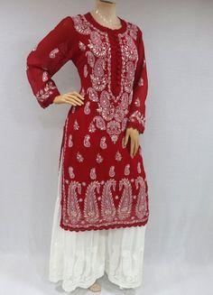 ISHIEQAs Chikankari-Gotta Georgette Red Kurti - MV0801E Red Kurti, Salwar Suits, Kurtis, Girl Fashion, Pure Products, Silk, Cotton, How To Make, Stuff To Buy