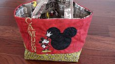 Red/Black Mickey Mouse/Disney Character Fabric Tote Bag/Toy Carrier/Purse-personalized-Birthday Gift. $20.00, via Etsy.