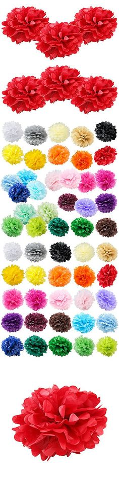 """WYZworks Set of 6 - RED 10"""" - (6 Pack) Tissue Pom Poms Flower Party Decorations for Weddings, Birthday, Bridal, Baby Showers, Nursery, Dcor"""
