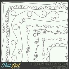 Doodle Borders in PSD format Doodle Borders, Doodle Patterns, Quilt Patterns, Longarm Quilting, Free Motion Quilting, Machine Quilting, Zen Doodle, Doodle Art, Midori