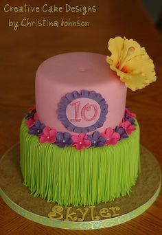 Luau cake for ICING SMILES | Flickr - Photo Sharing!