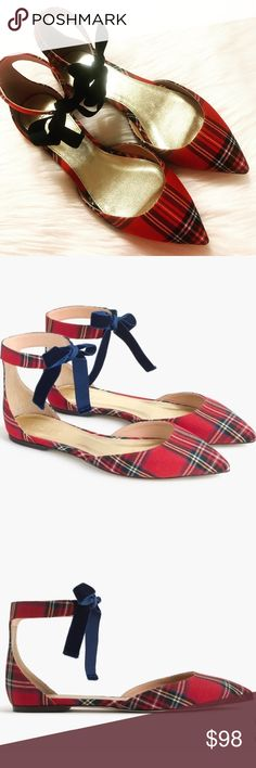 J. Crew Plaid Flats J. Crew Plaid Ankle Strap d'Orsay Flats. Red plaid with navy blue velvet ankle strap. Pointed toe. Absolutely gorgeous! Brand new in box. See pictures for more details. Pictures are part of item description so please look carefully. Reasonable offers considered. Bundle your likes for a private offer!! J. Crew Shoes Flats & Loafers