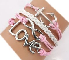 Handmade Anchor Love Charm Friendship Gift Fashion Jewelry Personalized Leather Bracelet - Pink TWINKLE Bracelet http://www.amazon.com/dp/B00MBN27UA/ref=cm_sw_r_pi_dp_VUyOub02PMF7D