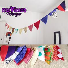 Guirnalda de banderines con hilo rustico de muchos colores, 12 banderines. myvioletdesigns.com
